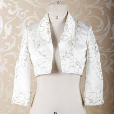 Bolero Jacket Pattern Gorgeous RSJ48 Long Sleeves Gold Embroidery Pattern Off White Satin Bolero