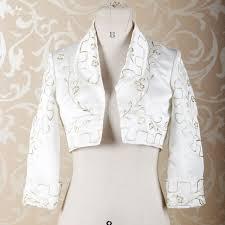 Bolero Jacket Pattern Gorgeous RSJ48 Long Sleeves Gold Embroidery Pattern Off White Satin Bolero