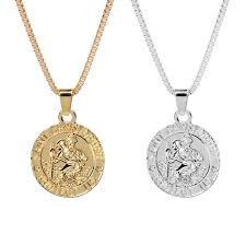 whole creative hip hop metal necklace silver gold color saint christopher round circle pendant necklaces for men small pendant necklace