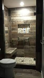 Kennewick, WA Bathroom Remodel Custom walk-in shower with wood plank look  tile walls