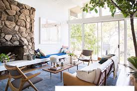 emily henderson home tour blue and white and wood living room