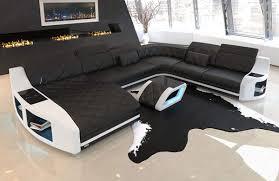 Xxl Leder Sofa Wohnlandschaft Swing Couch Mit Led