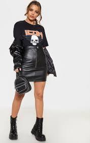 petite black zip detail faux leather skirt image 1