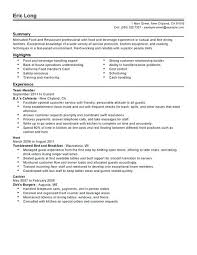 Fine Dining Resume Example Casual And Fine Dining Food And