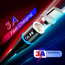 <b>OLAF 3A Magnetic</b> USB Cable Fast Charging Data Cable for iPhone ...