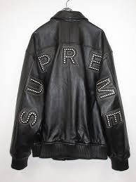 supreme シュプリーム 18ss studded arc logo leather jacket studs arch logo leatherette jacket black size