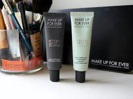 make up for ever mufe step 1 equalizer mattifying primer redness correcting primer review swatch