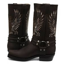 Grinders Bald Eagle Brown Leather Cowboy Boot Slip On Square