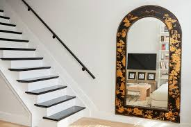 floor mirror. Gold And Black Floor Mirror By Open Staircase
