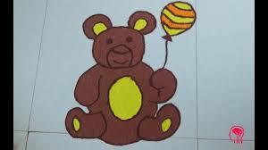 Easy Cartoon Rangoli Designs How To Make A Teddy Bear Teddy Bear Rangoli Rangoli