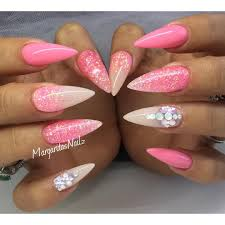Pink stiletto nails summer nail art glitter ombré ...