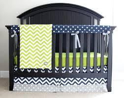 zoom navy and gray crib bedding grey white nursery custom lime green chevron