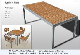 cafe aluminum and teak outdoor chairs