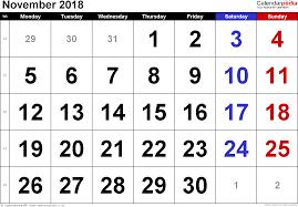 calendar november 2018 landscape orientation large numerals 1 page with uk bank