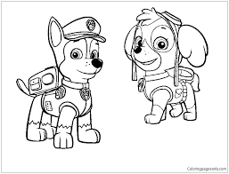 Coloring Pages Chase Paw Patrol Printable Coloring Pages Free For