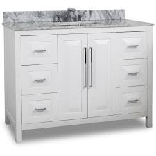 white shaker bathroom vanity. 48 Inch White Finish Single Sink Bathroom Vanity Carrera Marble Countertop Shaker U