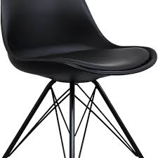 eiffel inspired black plastic dining chair with black metal legs