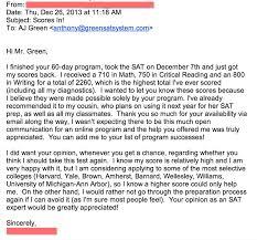 testimonials green test prep view email screenshot