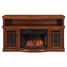 allen roth burnished pecan electric fireplace and a mantel