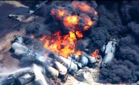 Image result for picture of a train crash with oil