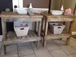 upcycled pallet bathroom table with basket storage bathroom furniture pallets