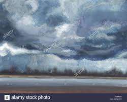 dark clouds rainy evening at the seas watercolor painting excellent painting drawing from nature