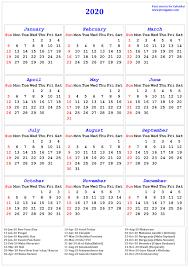 Holiday Calendar 2020 Hos Ting