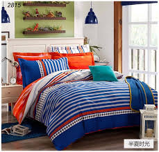 blue and orange bedding plaids bedding set 100 cotton bed clothes orange white blue tapes