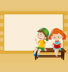 border template with kids on the bench vector