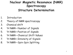 H Nmr Chemical Shift Chart Ppt Nuclear Magnetic Resonance Nmr Spectroscopy