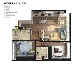 Modern Apartments Floor Plans Design 2 Bedroom Modern Apartment Design Under 100 Square Meters 2