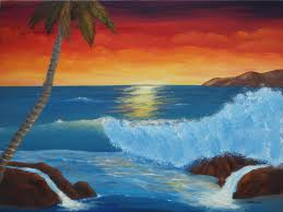 tropical sunset wave original oil 18