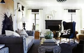modern meval living room ideas with classic black fireplace and white wall color