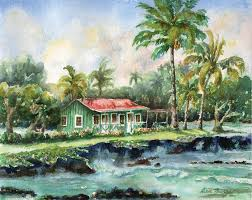hawaiian landscape painting eva parker woods cottage by lisa bunge