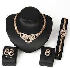 necklace earrings bracelet ring jewelry set europe and america jewelry set women s exquisite circle hollow out shape pendant rhinestone inlay accessories