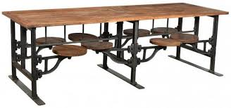industrial dining table. Iron And Wood 254cm 8 Seater Rectangular Industrial Dining Table With Adjustable Swivel Seating