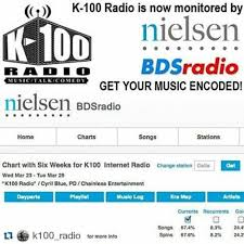 Bdsradio Charts K 100 Radio Is Now A Nielsen Bds Monitored Broadcast