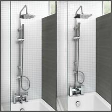 dual shower head. Bath Shower Mixer Thermostatic Valve Tap Dual Square Head Rail Hose Handheld
