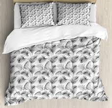 grey and white duvet cover set tropical palm leaves botanical exotic jungle hawaiian rainforest pattern decorative bedding set with pillow shams
