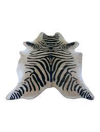 zebra cowhide rug size x ft black striped print e buffalo hide faux