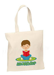 personalized cotton tote bag kids book bag custom book bag personalized library bag
