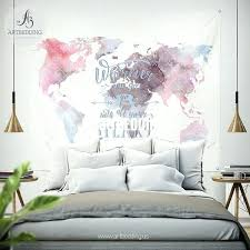 world wall decor watercolor world map wall tapestry watercolor e wall hanging bohemian wall tapestries wall world wall decor