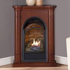 corner ventless gas fireplace walnut
