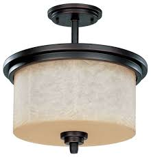 3 light semi flush mount with saddle stone glass traditional flush mount