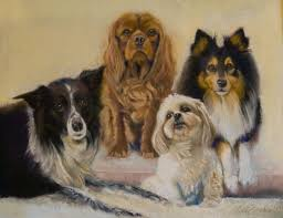4 pooches pastel