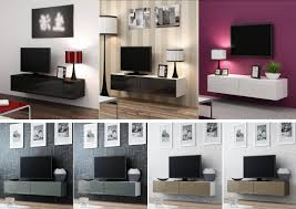 High Gloss TV Cabinet Entertainment Unit | Floating Wall Mounted TV Unit  140cm