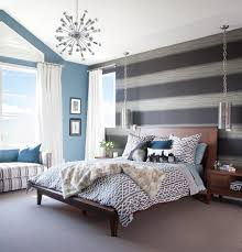 Bedrooms:Awesome Bedroom With Gray Striped Wall And Comfy Bed Under Modern  Chandelier Also Wooden