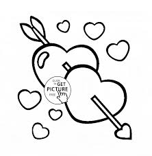 Hearts With Arrow Coloring Page For