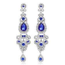 royal blue crystal rhinestone chandelier long drop earrings wedding prom jewelry