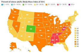 Obesity Chart In America Us Obesity Levels By State Obesity Procon Org